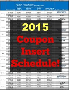 2015 Coupon Insert Schedule!   Grocery Shop For FREE at The Mart!!
