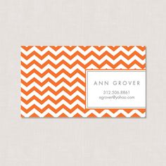 Chevron Personalized Calling Card PRINTABLE by emileerosecustom. $12.50, via Etsy.