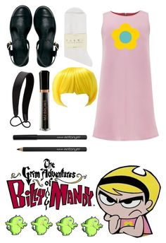 """""""Mandy from The Grim Adventures of Billy & Mandy"""" by cosplay-creations ❤ liked on Polyvore featuring ASOS, Falke, Alice & You, Jennifer Behr, M2BEAUTÉ and WallPops"""