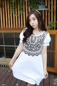 Neck Prints White T Shirt  shop for casual, party, prom, special occasion, work dresses at: http://clothingcandy.com/clothing.html