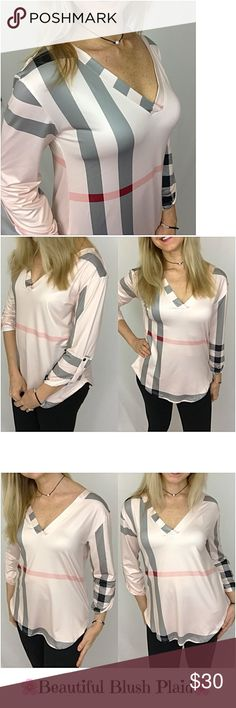 """Beautiful Blush Plaid V-Neck Tunic XL In love with this beautiful blush plaid V-neck tunic top with 3/4 tab sleeves. Butter soft & stretchy polyester. Gray, black & pink plaid pattern with a pale blush background...doesn't get much prettier   XL Bust 38-40"""" Length 27.5"""" Tops"""