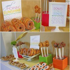 "Breakfast in PJs themed bday party ""desert"" bar - great idea for a birthday party !     i'll have bagels, cornflakes, donuts, cream cheese, cheeses, fruits, some sweet desserts maybe, coffee, juice, tea.. OooOOoo..."