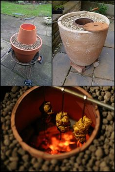 Make an Indian tandoor oven from flower pots. http://theownerbuildernetwork.co/zb7f Do you love tandoori chicken? How about real - and we mean REAL naan breads? Then here's a simple DIY project using terracotta flower pots that you might just want to have in your backyard! Now start gathering the needed materials and get cooking some really delicious, genuine Indian favourites!