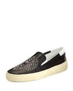 Saint Laurent Bandana Studded Leather Skate Shoe, Noir