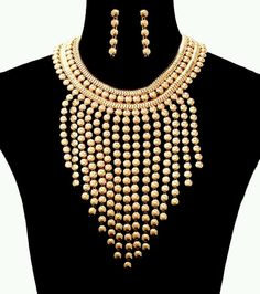 TRENDY GOLD DROP STATEMENT NECKLACE SET. #Statement