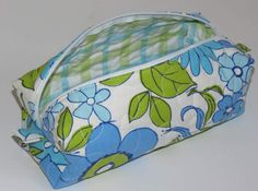 Quilted Boxy Zippered Pouch Cosmetic Bag Re-purposed by MiniMade