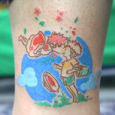 Ming Teng > Gake no Ue no Ponyo Tattoos Skull, Anime Tattoos, Body Art Tattoos, Small Tattoos, Cool Tattoos, Tattoo Ink, Tattoo Hurt, Tatoos, Miyazaki Tattoo
