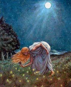 Persephone~ (also known as, Kore) Greek Vegetation Goddess~ The Maiden of Springtime~ Daughter of Zeus and Demeter~ Images Esthétiques, Hades And Persephone, Moon Garden, Sacred Feminine, Wow Art, Greek Mythology, Celtic Mythology, Roman Mythology, Gods And Goddesses