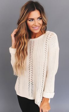 Cream Knit Cuffed Sleeve Sweater - Dottie Couture Boutique