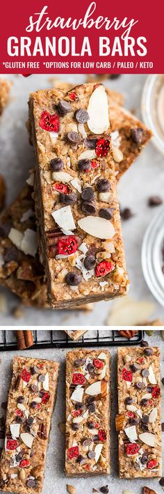 These Strawberry Granola Bars are soft, chewy, easy to make & perfect after a workout or a healthy breakfast-on-the-go. Gluten free with low carb keto swaps Waffle Recipes, Snack Recipes, Dessert Recipes, Brunch Recipes, Paleo Recipes, Appetizer Recipes, Easy No Bake Desserts, Delicious Desserts, Yummy Food