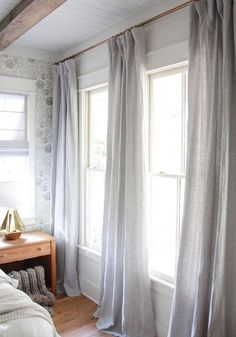 Curtain idea for Family Room Slider/A modern farmhouse with vintage appeal. custom drapes and curtains by Living Room Drapes, Bedroom Drapes, Drapes Curtains, Home Bedroom, Modern Bedroom, Bedroom Decor, Drapery Panels, Bedroom Ideas, Grey Linen Curtains