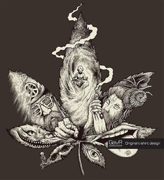Men's t-shirt Marijuana, Psychedelic tee, Cannabis, аlternative clothing, psychedelic shirt weed Sketch Tattoo Design, Tattoo Sketches, Tattoo Drawings, Art Sketches, Art Drawings, Tattoo Designs, Tattoo Ideas, Weed Tattoo, Clown Tattoo