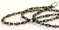 Turquoise and Wooden Beaded Eyeglass Chain Necklace by nonie615, $25.00