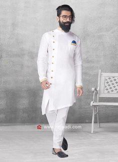 Round Neck White Color Pathani For Party. #EIDSale2019 #Rajwadi #bestoffer #eid2019 #eidoutfits #eidmubarak #pathanisuit #designer #stylish
