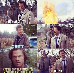 I love Castiel. He's either hardcore demolishing evil with a glance and a poor one-liner or a confused puppy. #supernatural #castiel #cas