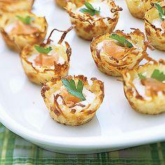 Potato Nests with Sour Cream and Smoked Salmon Recipe   MyRecipes.com