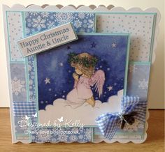 Handmade cards by Kelly Lloyd Blue Christmas, Christmas Angels, Christmas Snowman, All Things Christmas, Art Pad, Christmas Card Crafts, Angel Art, Fall Cards, Lily Of The Valley