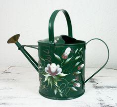 Vintage TOLE Painted Green Metal Watering Can by hollyrockvintage