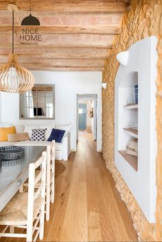 Today I'm super excited to share this charming, bright, and cheery Costa Brava cottage north of Barcelona that will certainly make you want to visit Spain. Beautiful Houses Interior, Beautiful Homes, Home Staging, Estilo Shaker, Beach Apartment Decor, White Shaker Kitchen Cabinets, Casa Loft, Brick And Wood, Spanish House