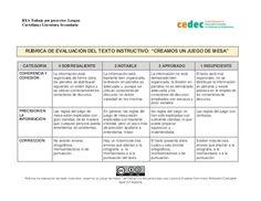 Rúbrica de evaluación de un texto instructivo