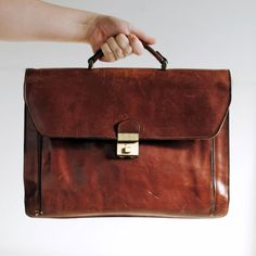 Vintage Large Leather Briefcase /  Brown Tan / by MRetroBoutique
