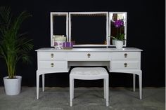 Sitting beautifully in any decor, this stylish white painted dressing table is a practical and elegant piece, perfect to add extra storage and surface space to a bedroom or dressing room. Buy now from Fusion Furniture Store for Stag Furniture, White Painted Furniture, Furniture Direct, White Dressing Tables, Dressing Table With Stool, House Decoration Items, Decorations, Furniture Dressing Table, Bentley Design