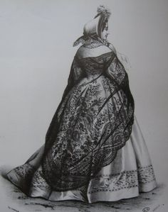 In 1844 a machine was patented that made black silk Chantilly lace that was difficult to distinguish from the handmade lace. Good machine made imitation were now available. Both they and the more expensive handmade kind were fashionable from the mid-century on, when shawls and even whole mantles of Chantilly were worn over a crinoline. A favorite piece among the Civil War widows...an elegant sign of mourning.