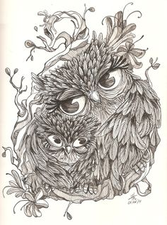 """Get my """"being a mommy"""" and owl tattoo in one. I'd get the mother owl's head straight and add another baby...since I have Bella & Nolyn...I'd do it in color too thou. It could be pretty cool."""