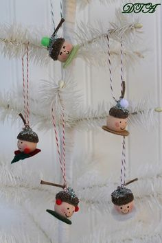 Acorn Elf Christmas Ornaments.  Also a shiny marble w/ an acorn hat ...
