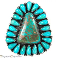 * This is a Navajo handcrafted ring size 9 by Bea Tom. This large cluster ring is created with a center Pilot Mountain Mine Turquoise stone surrounded by Kingman Mine Turquoise crafted with Sterling Silver. Navajo Jewelry, Southwest Jewelry, Tribal Jewelry, Indian Jewelry, Vintage Turquoise, Coral Turquoise, Turquoise Jewelry, Jewelry Showcases, Cluster Ring