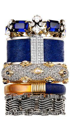 Blue & gold bangle stack