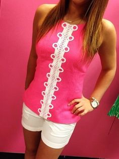Lilly Pulitzer Annabelle Halter Top in Hotty Pink via Park Plaza Lilly Pulitzer Instagram