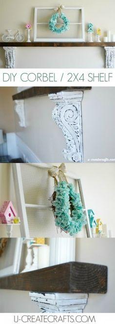 DIY 2x4 Shelf. Fun idea when you don't have a mantel!