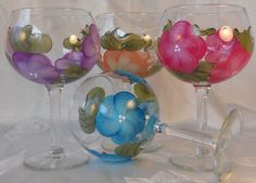 Hand Painted Wine Stems  FREE Shipping in by EverMyHart on Etsy - $45.00 *** The last day to receive free shipping in time for Christmas delivery is Thursday,  Dec 18th ***