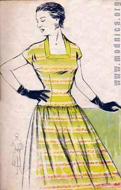 платье в полоску из хлопка мода 50-х