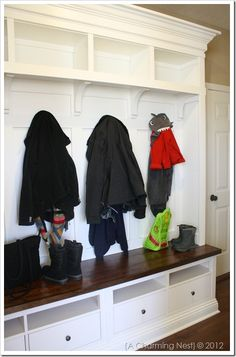 Mudroom Storage...Tutorial  These use Ikea furniture...but could be any furniture that was cut down to size (like an old dresser)