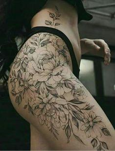 Hip Thigh Tattoos, Hip Tattoos Women, Flower Thigh Tattoos, Top Tattoos, Sexy Tattoos, Life Tattoos, Body Art Tattoos, Tatoos, Delicate Tattoo
