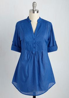 Back Road Ramble Tunic in Blue. You always look forward to a weekend drive in the country, and when you spy the soft knit fabric of this royal-blue top, you know its the perfect piece to don for a sun-filled afternoon. #blue #modcloth