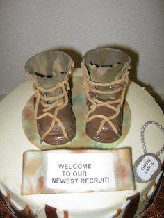 Miniature gumpaste Marine combat boots for a baby shower cake.
