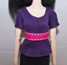 Pullip clothes - dark purple t-shirt with pink trim by FabriMagoDolls on Etsy