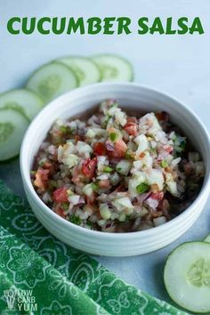By reducing the amount of tomatoes, this cucumber salsa recipe has about half the carbs as the red kind. It's perfect for any low carb keto diet. Low Carb Taco Seasoning, Low Carb Taco Salad, Low Carb Keto, Low Carb Recipes, Vegan Recipes, Vegan Meals, Pasta Recipes, Keto Foods, Keto Snacks