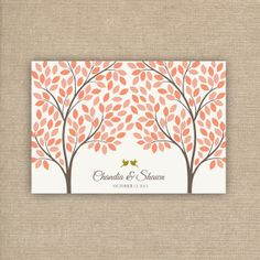 Guest Book - Wedding Guest Book Tree Alternative with 215 Leaves - Coral Wedding Tree with Faux Gold Glitter Birds
