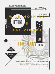 Wild Nothing gig poster by Aaron Eiland Graphic Design Layouts, Graphic Design Typography, Layout Design, Print Design, Branding Design, Typography Layout, Book Design, Gig Poster, Print Poster