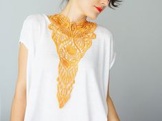 Fiume // Venise Lace Necklace/ Lace Jewelry/ Orange by EPUU