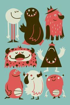 Funny illustrations by greg abbott cute monster illustration, funny illustration, graphic design illustration,