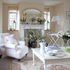 Looking for neutral living room decorating ideas? Take a look at this floral country living room from Country Homes & Interiors for inspiration. For more living room ideas, such as how to decorate with floral wallpaper, visit our living room galleries Shabby Chic Living Room, Living Room White, My Living Room, Shabby Chic Furniture, Shabby Chic Decor, Home And Living, Living Room Decor, White Furniture, Living Area