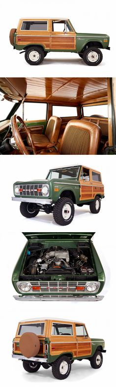 This truck is a design nod to early Ford Woodies. A 1974 Ford Bronco with Blue Print 302 engine, leather / tweed seats with a Hunter Green paint job. Ford Lincoln Mercury, Classic Chevy Trucks, Classic Cars, Cool Trucks, Cool Cars, Ford Bronco Ii, Classic Ford Broncos, Woody Wagon, Expedition Vehicle