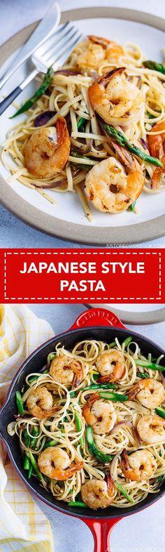 Easy Wafu Pasta with Shrimp and Asparagus 海老とアスパラガスの簡単和風パスタ | Easy Japanese Recipes at JustOneCookbook.com