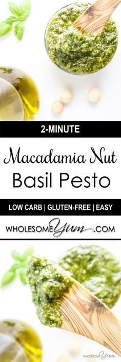 2-Minute Macadamia Nut Basil Pesto (Low Carb, Gluten-free) | Wholesome Yum - Natural, gluten-free, low carb recipes. 10 ingredients or less.