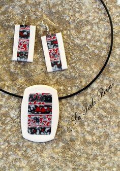 Parure pendentif + boucles fimo polie, motif mokume rouge, noir et blanc.